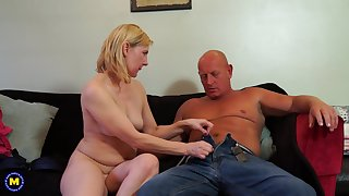 Bald guy fucks a remarkable blonde adult non-professional MILF Kate Aveiro