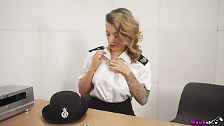 Horny British constable Charlie Z is get-at-able to pet her own shaved pussy