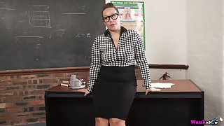Nerdy chubby MILFie prof Ashley Voyager is expectant to fingerfuck herself