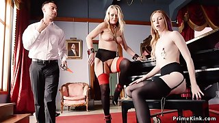 Following maids punished and trio had intercourse