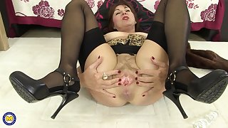 Busty of age brunette MILF Georgie masturbates on touching toys at home