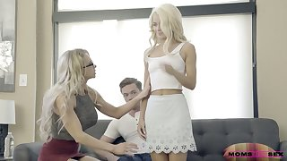 Older stepmom Alix Lynx fucks her stepson and his young wed Elsa Jean