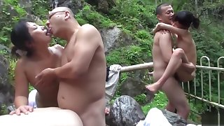 Uncensored JAV first and foremost wives raw sex orgy outdoor onsen
