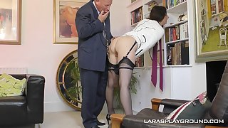 Mature amateur subfuscous Paul strips in the office and teases her boss