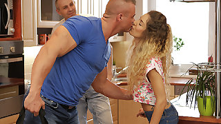 DADDY4K. Curly-haired babe and mom man try old and..