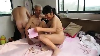 Asian Grandpa Trio on touching adult woman